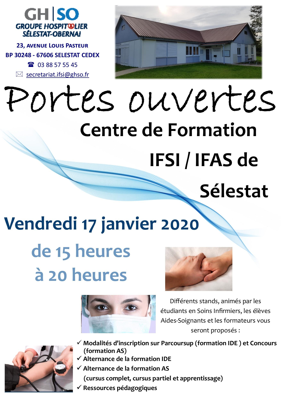 Portes ouvertes centre de formation IFSI / IFAS de Sélestat le 17 Janvier 2020 de 15h à 20h