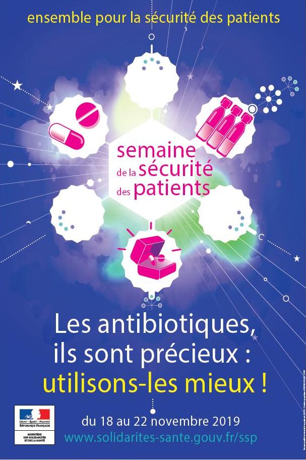 affiche avec slogan : les antibiotiques sont précieux, utilisons-les mieux !